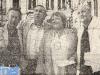 Guido Pancaldi, Gennaro Olivieri, Paule Herreman et Mike Verdrengh devant un décor représentant le vieux Bruxelles (1979)