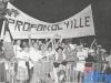 """Les supporters de Profondeville, en finale des """"Jeux sans frontières"""" 1988 à Bellagio (Italie)"""