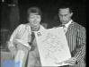 """Paule Herreman présente """"Jeux sans frontières"""" 1967 à Bruxelles (Belgique). Ici avec Guido Pancaldi."""