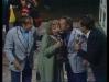 """Paule Herreman et Michel Lemaire présentent """"Jeux sans frontières"""" 1980 à Namur (Belgique). Ici avec Gennaro Olivieri et Guido Pancaldi."""