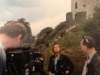 Au pied du Château de Cardiff (Pays de Galles), Caterina Ruggeri enregistre la bande-annonce de la finale de Jeux sans frontières 1994