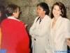 Marie-Claire Vionnet (coordinatrice UER), Iestyn Garlick et Eva Longyka sur le tournage de Jeux sans frontières 1994 à Poros (Grèce)