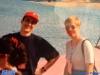 Jeux sans frontières 1994 à Rome (Italie) : Gregor Krajc et Spela Trefalt lors d'un 'marquage'