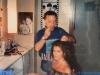 Caterina Ruggeri en loge maquillage avant le tournage de Jeux sans frontières 1994 à Rome (Italie)