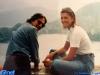 Iestyn Garlick et Caterina Ruggeri lors d'une excursion à Bled, organisée en marge du tournage de Jeux sans frontières 1994 en Slovénie