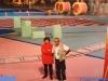 La productrice italienne Graziella Reali et le réalisateur Nuccio Ambrosino sur le plateau de Jeux sans frontières 1996 à Stupinigi (Italie)