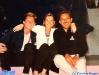 Pierre Pellegrini (l'arbitre suisse), Caterina Ruggeri et Riccardo Giovannella (l'arbitre italien) en marge d'un tournage de Jeux sans frontières 1996 à Stupinigi (Italie)