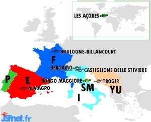 """""""Jeux sans frontières"""" 1990 à Bergame : les villes participantes"""