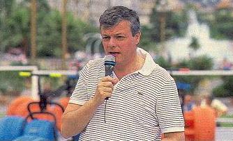 """Fabrice sur le plateau de """"Jeux sans frontières"""" installé à Nice en 1989."""