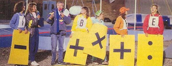 """Fabrice sur le plateau de """"Jeux sans frontières"""" installé aux Saisies en 1988."""