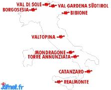 Villes italiennes participant à l'édition 1998